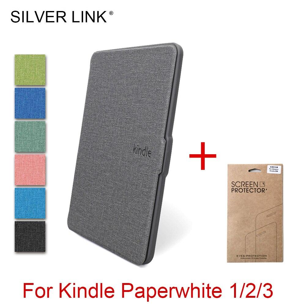 PRATA LIGAÇÃO Kindle Paperwhite 1/2/3 Silício Caso Inteligente Para Amazon Ereader Cover Auto Sleep/Wake shell Com Filme Protetor de Tela