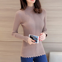 Student Sweater Shirt Shirt 2017 New Lace Korean Slim Semi High Round Neck Collar Pure Color