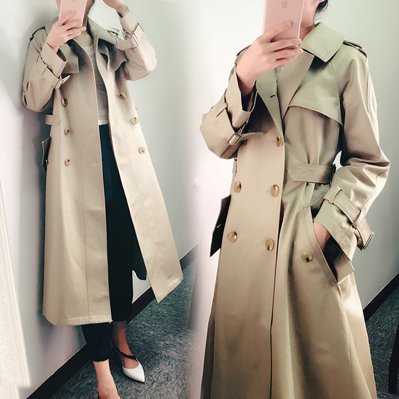 Khaki Trench Coat Female Long Korean 2020 Spring Autumn Tunic Slim Fit Double Breasted Coat Women Overcoat N793