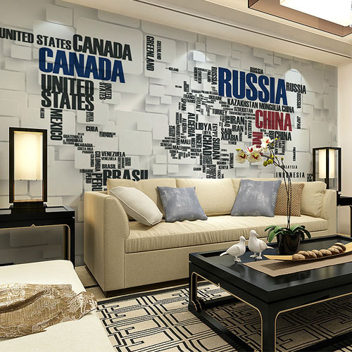 Large Photo Mural 3D Wallpaper for Living Room TV Sofa Background Wall Art Wall Paper English World Map shinehome 3d fantastic colorful balloons embossed wallpaper background mural rolls for kids living room wall paper decal art