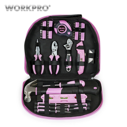 Conjunto de herramientas de mano de 103 piezas para el hogar bolsa de herramientas de color rosa para mujeres y niñas