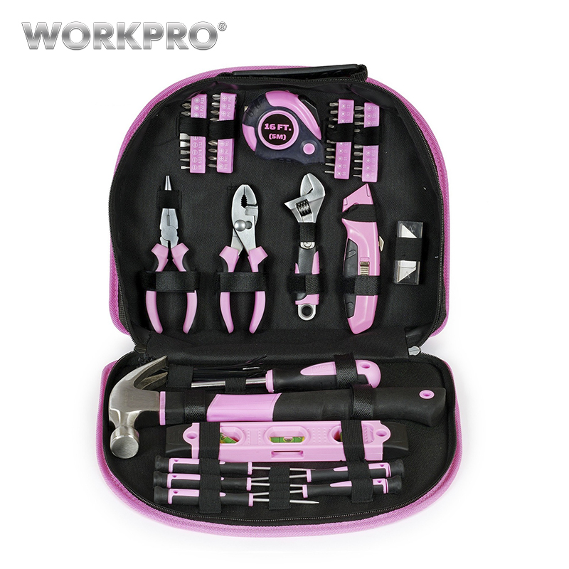 WORKPRO 103PC Hand Tool Set Home Tool Kit Tool Bag Pink Tools for Women Girls