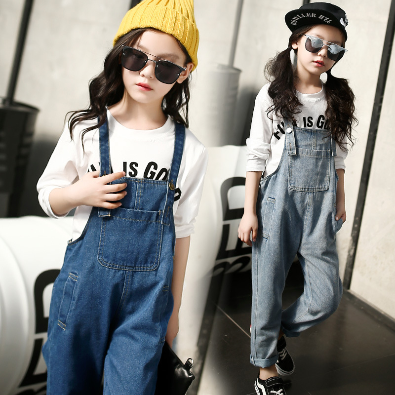 f80a7e11096 Kids denim overalls 2019 spring girls cowboy suspenders trousers ...