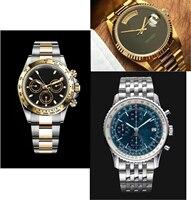 Элитный бренд новый Для мужчин часы автоматические механические с автоподзаводом Часы из нержавейки, комплект из 3 предметов