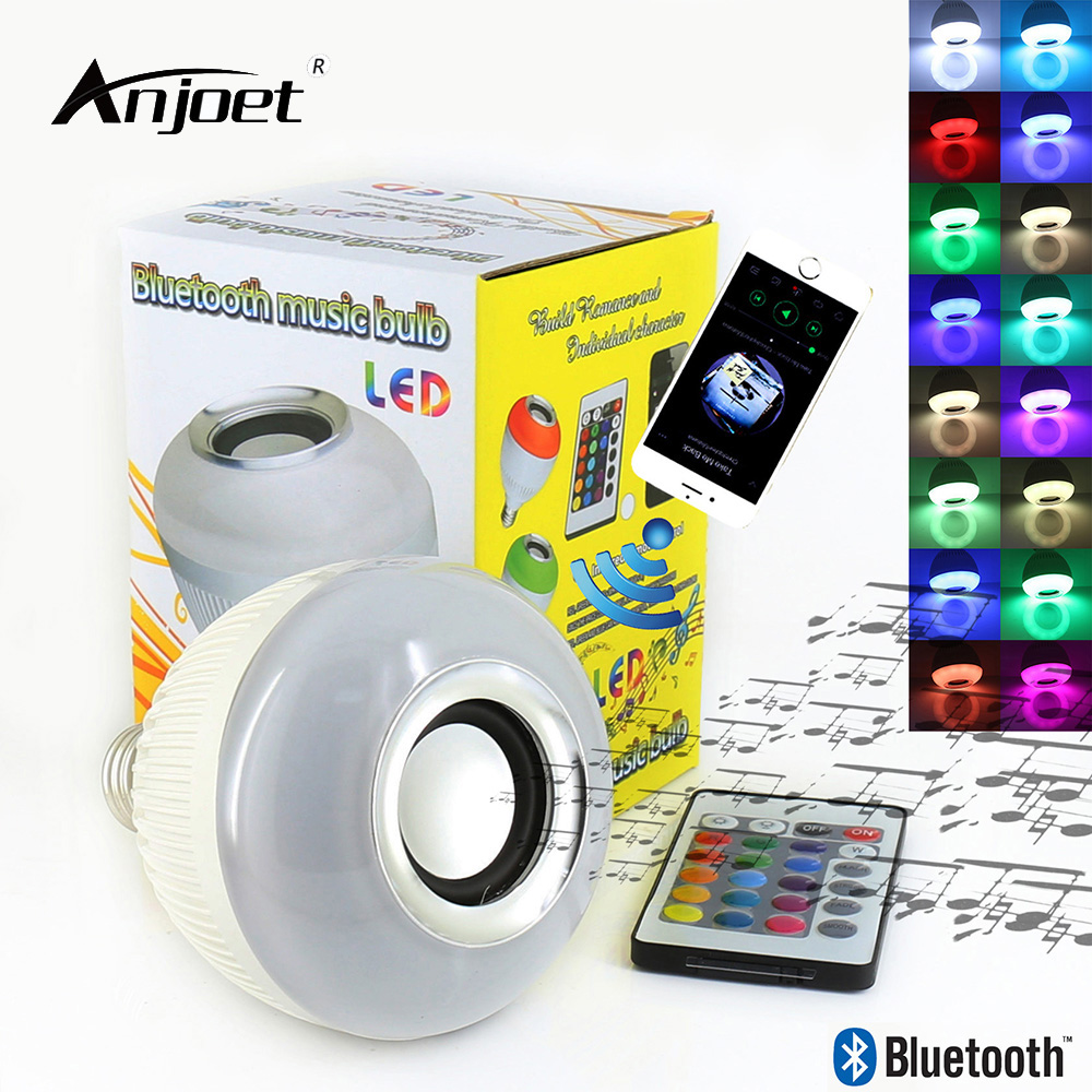 ANJOET E27 Bluetooth music bulb led Wireless 12W 24 Keys IR Remote Control Mini Smart Audio Speaker RGB Color Light Music Lamp smuxi e27 led rgb wireless bluetooth speaker music smart light bulb 15w playing lamp remote control decor for ios android