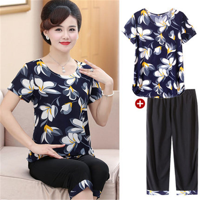 T-shirts Suits 2019 Summer Middle-aged Women Clothes Casual Two-piece Set Womens Large Size Loose Printed T-shirts Female X761