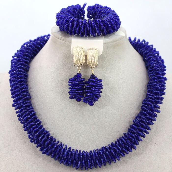 b6ebdbcd01f3 Diseño único marca de moda Juegos de joyería azul moda declaración joyería  para el Partido lindo regalo envío gratis hx954