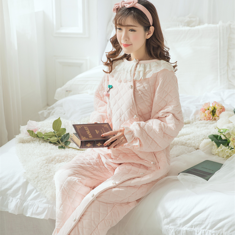 New Winter Onesies Pyjamas Cotton Wear Sleepwear Princess Sleepwear Long  Onesies Women s 2 Color Home Wear Gown High-quality 6e1b9c474a