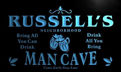 x0082-tm Russells Neighborhood Man Cave Bar Custom Personalized Name Neon Sign Wholesale Dropshipping On/Off Switch
