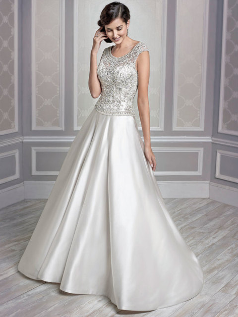 High Quality Country Western Wedding Dresses Short Sleeve 2017 Liques Beaded Bridal Gown Satin Vestido De