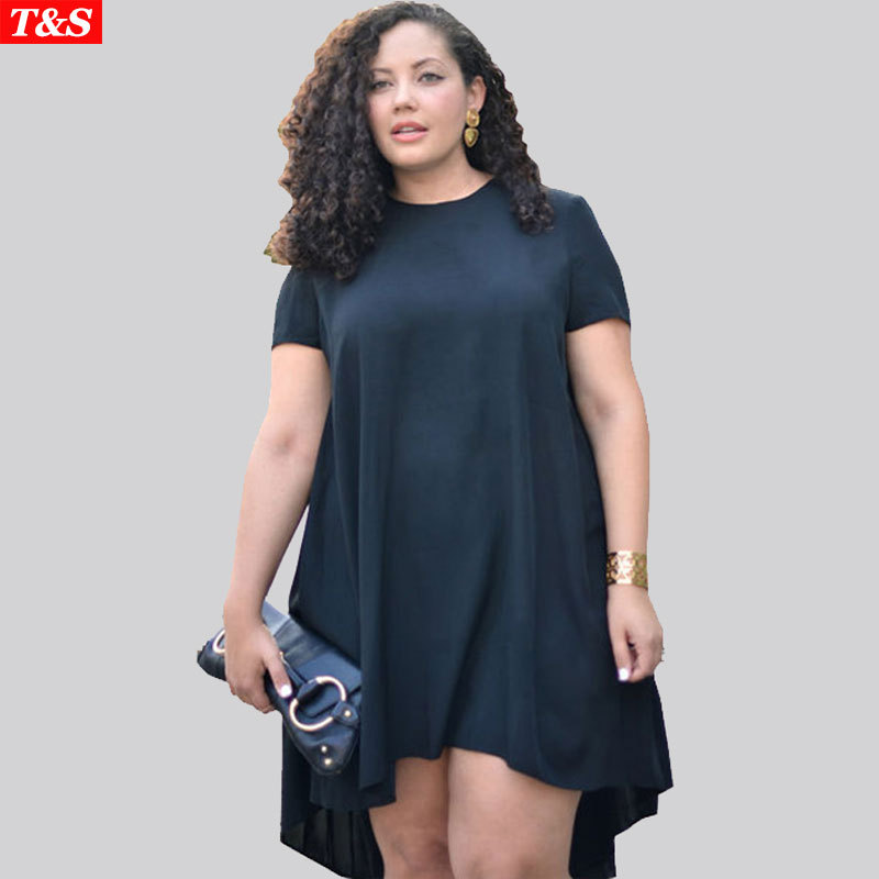 Women Big Size Tshirt Dress Sexy Black Irregular Dress