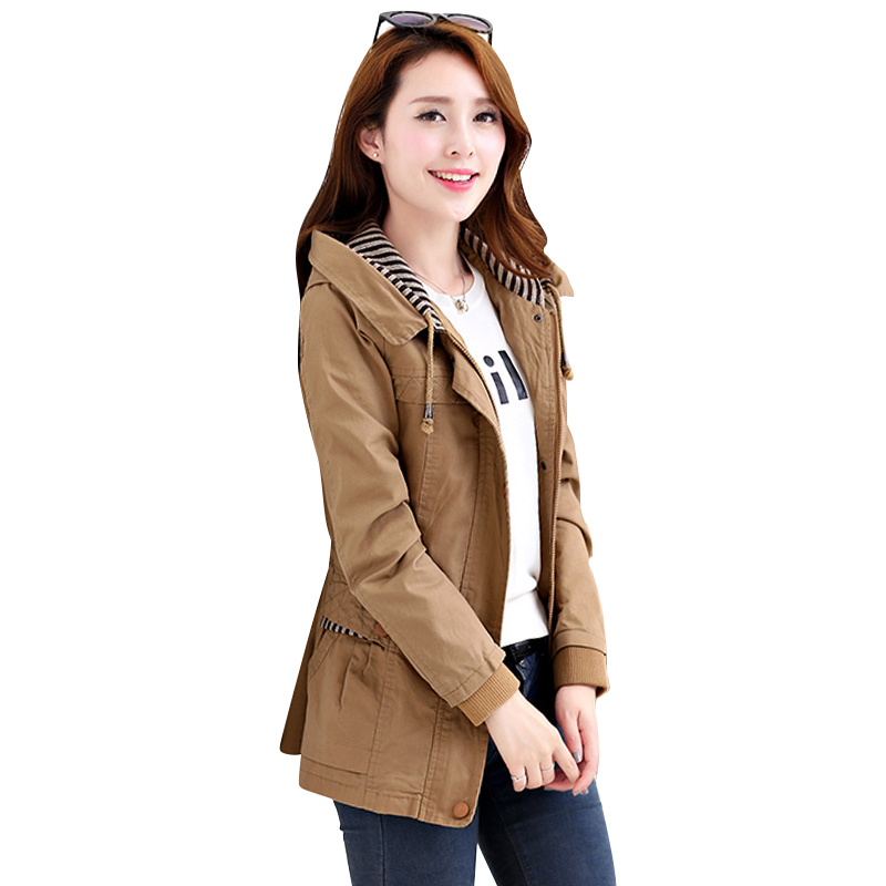 2018 New Autumn winter Trench Coat Women Causal Long Sleeve With Hood Medium Trench Outerwear Female