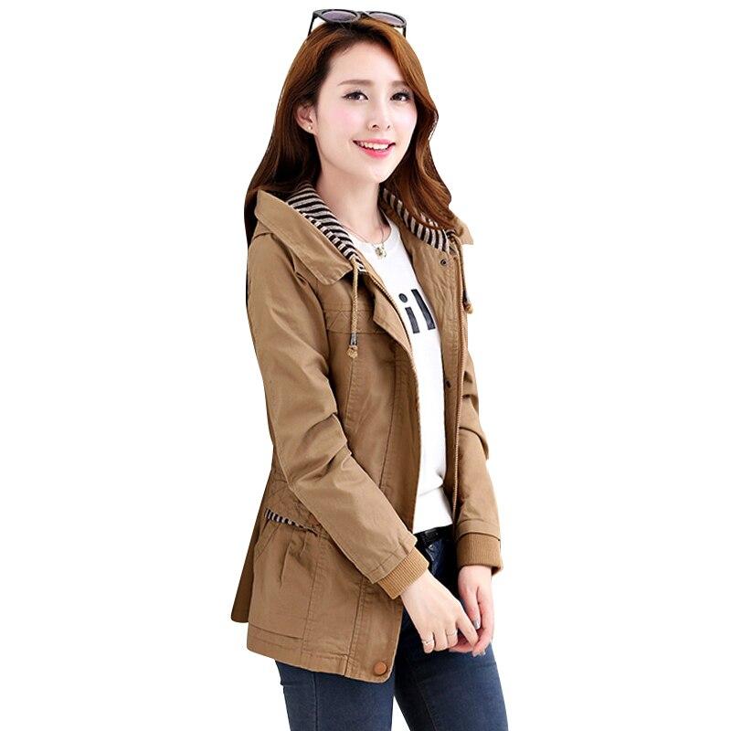 2018 New Autumn winter   Trench   Coat Women Causal Long Sleeve With Hood Medium   Trench   Outerwear Female Coat Casaco Feminino Coats