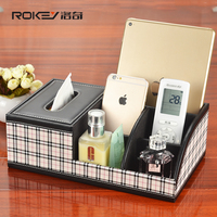 High grade leather multifunction cosmetic tissue box pumping tray Desktop remote control storage box European shipping