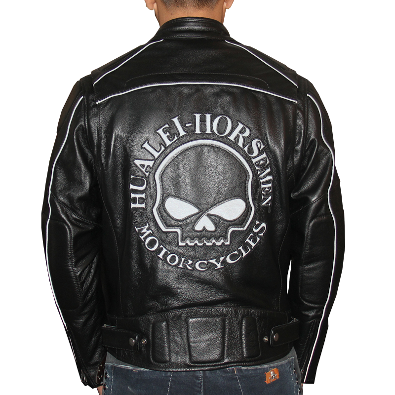 HARLEY DAMSON  Black Men Skull Biker's Leather Jacket Plus Size XXXL Genuine Thick Cowhide Slim Fit Short Motorcycle Coat