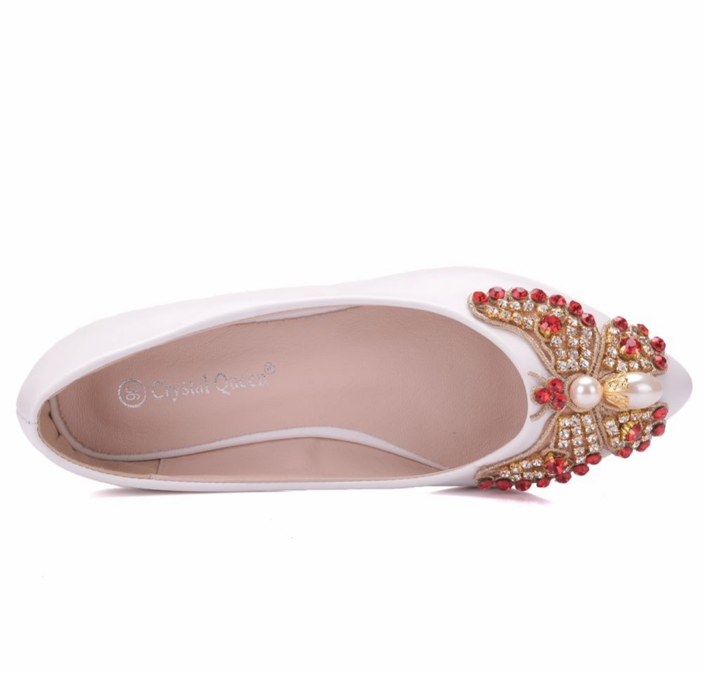 Crystal Queen Rhinestone Butterfly knot Women Shoes Wedding Bride Shoes  White Pointed Toe Flats Heel Shoes For Girls Plus Size-in Women s Flats  from Shoes ... 16ff6803ceb3