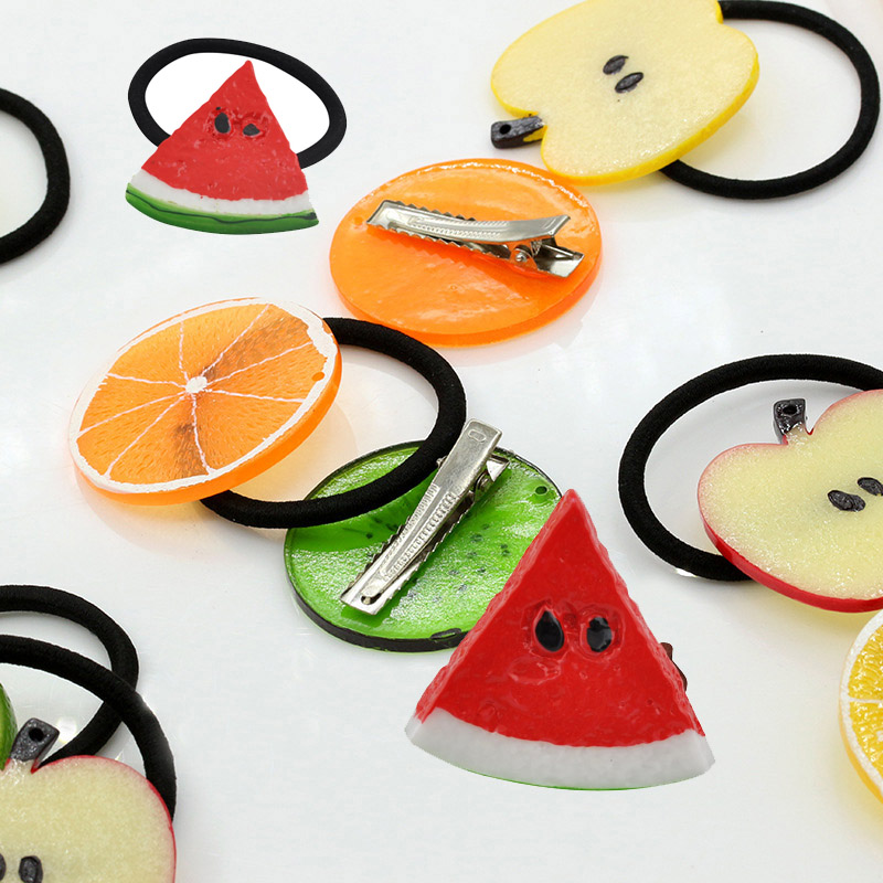 1Pc Fruit Slice Multi-Patterns Hair Accessories Girl Women Elastic Rubber Bands Hair Clips Headwear Tie Gum Holder Rope Hairpins magic elacstic hair bands big rose decor elastic hairbands hair clips headwear barrette bowknot for women girls accessories