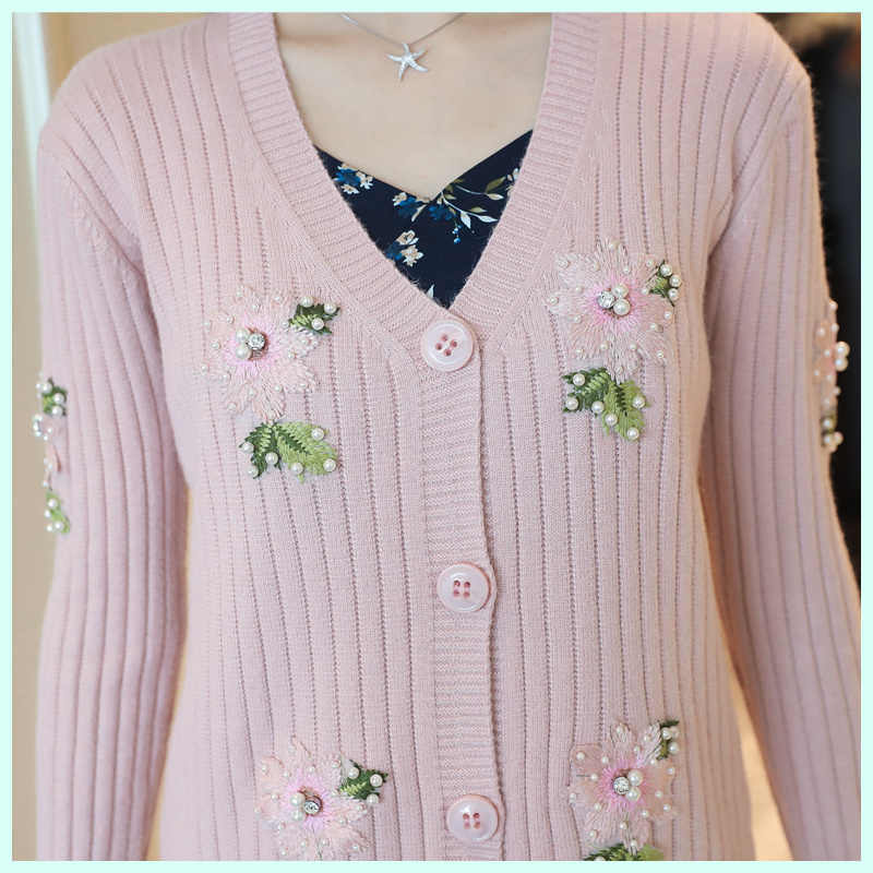 수 놓은 스웨터 기본 자켓 여자 봄 가을 캐주얼 2019 새로운 한국어 달콤한 꽃 니트 카디건 코트 여성 톱 a318