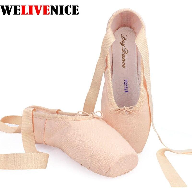 2017 m. Karšto vaiko ir suaugusiųjų drobės baleto pointe šokių batai Odos spalvos moteriškos profesionalios drobės baleto bateliai su batus # 8222