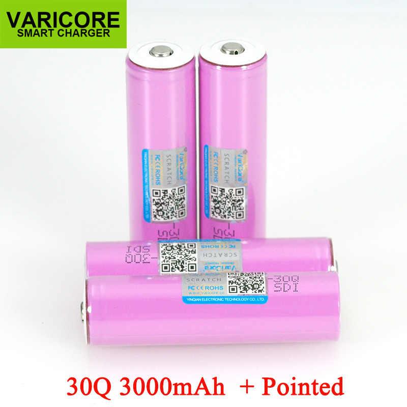 VariCore 3.7 V 18650 INR18650 30Q 3000 リチウムイオン二次電池懐中電灯電池 + 指摘