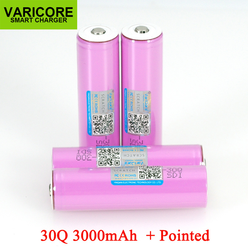 VariCore 3.7V 18650 INR18650 30Q 3000mAh li ion Rechargeable battery For Flashlight Batteries + Pointed-in Replacement Batteries from Consumer Electronics