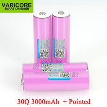 Varicore 3.7v 18650 icr18650 30q 3000mah li ion bateria recarregável para baterias lanterna + apontou