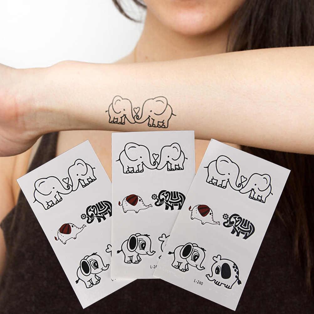 Body Art Animal Fake Makeup Tattoo Paper Sleeve Paste Cute Elephant Waterproof Temporary Tattoos Sticker