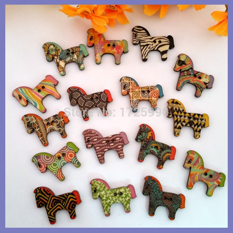 80Pcs Mix Colorful Horse Pattern Wooden Buttons for craft Fit Sewing Scrapbooking Decoration Embellishment sewing accessories