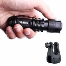 Adjustable Focus Mini Flashlight CREE Q5 2000 Lumens LED Flashlight Torch AA Lantern With Bicycle Torch Mount Clip Holder