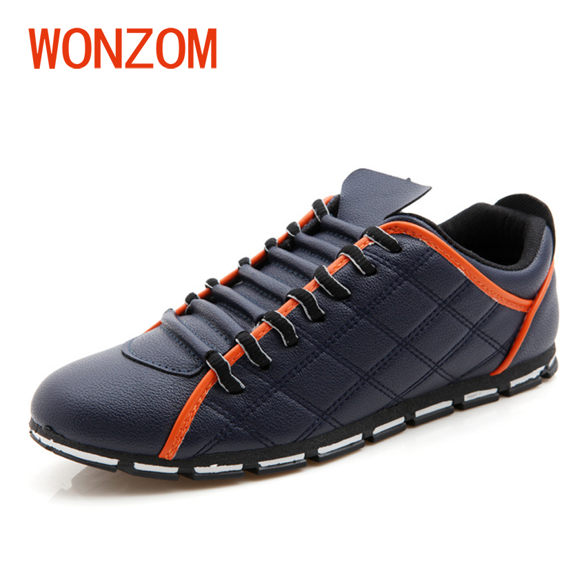 WONZOM Men's Casual Shoes Blue White Black Breathable Fashion Spring/Autumn Comfortable Flats Shoes For Male 2018 New Arrivals micro micro 2017 men casual shoes comfortable spring fashion breathable white shoes swallow pattern microfiber shoe yj a081