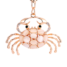 Pretty Chic Opals Crabs Keychain For Women Bag Pendant Key Chain Christmas Gift Jewelry Car Key ring  llaveros PWK0619