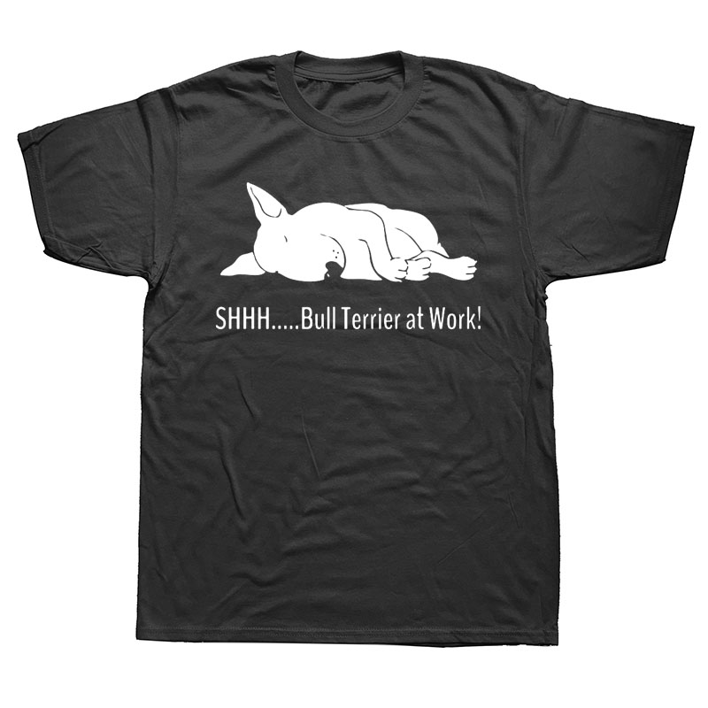 Bull Terrier At Work T Shirts Funny Graphic Fashion New Cotton Short Sleeve O-Neck T-shirt