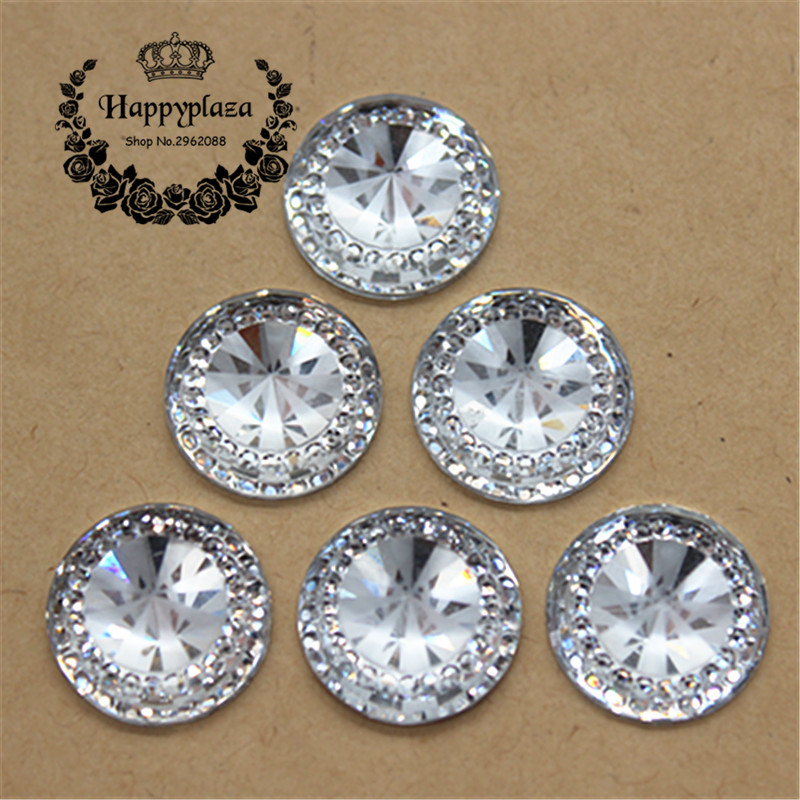50pcs 16mm Clear Crystal Resin Bling Round Flatback Cabochon DIY Scrapbooking Phone/Wedding Craft