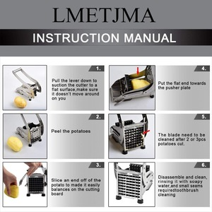 Image 4 - LMETJMA French Fry Cutter with 2 Blades Stainless Steel Potato Slicer Cutter Chopper Potato Chipper For Cucumber Carrot KC0213