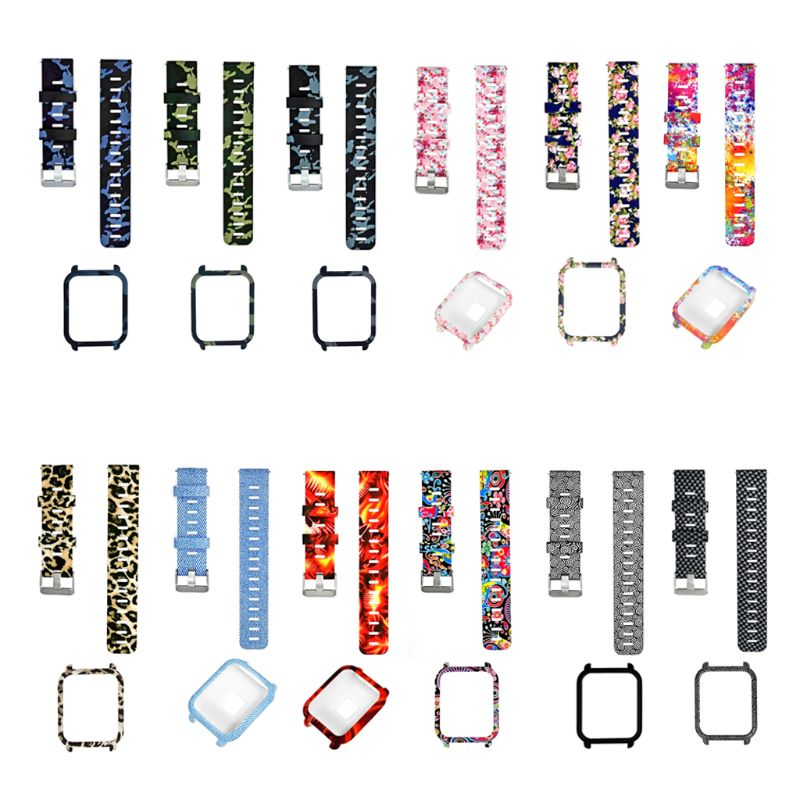 1Set Soft Silicone Watchband Wrist Strap Hard PC Protective Case Shell Skin Protector For Xiaomi Huami Amazfit Bip Bit Youth Sma