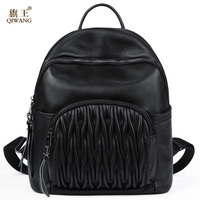 QIWANG Genuine Leather Women Backpack Ruched Leather Pocket Backpack With Phone Pocket Fashion Backpack For Women