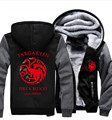 USA size Game of Thrones House Targaryen Jacket Sweatshirts Thicken Hoodie Zipper Coat