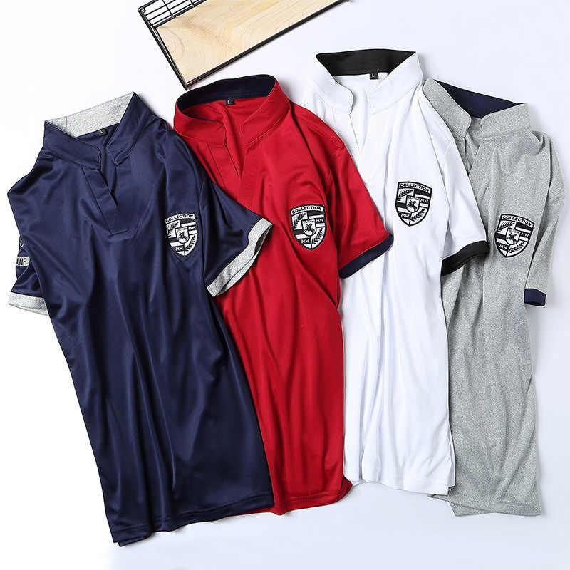 Летние Короткие комплекты мужские повседневные костюмы спортивный костюм воротник стойка мужская верхняя одежда, толстовки с капюшоном Лоскутная футболка + брюки