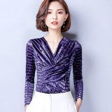 Plus Size 2018 New Autumn Women Shirts font b Slim b font V Neck Velvet Blouse