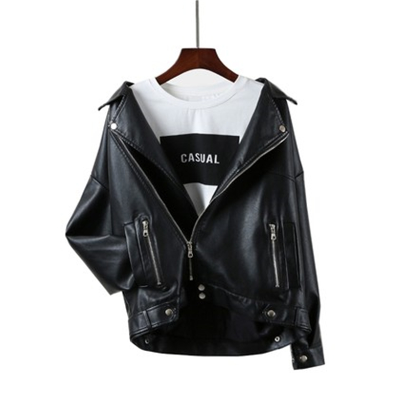 2019 Spring Autumn New Loose Ladies Faux PU   Leather   Korean Motorcycle   Leather   Jacket Coat Women's Casual Large Size Black T313