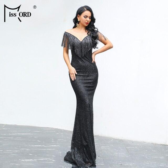 Missord 2019 Women Sexy O Neck Mesh Tassel Dresses Female Glitter Dress Elegant Maxi Bodycon Party Dress FT19008