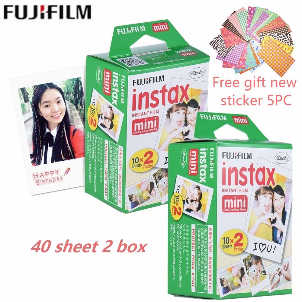 Film fujifilm 20 pièces/boîte 40 feuilles + cadeau gratuit pour mini 8 caméra instantanée mini 7 s 25 50 s 90 papier Photo bord blanc film de 3 pouces de large