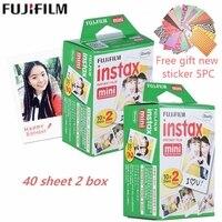 20pcs/box fujifilm film 40 sheet + free gift for mini 8 camera Instant mini 7s 25 50s 90 Photo Paper White Edge 3 inch wide film