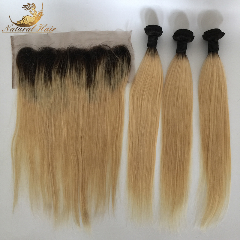 Brazilian Blonde Hair Weave 3 Bundles With Lace Frontal