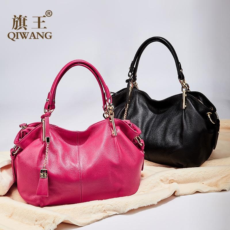 Bureau dames sacs à main Qiwang véritable sac à bandoulière en cuir véritable marque de luxe noir sac à main pour femmes casual fourre tout grande capacité-in Sacs à poignées supérieures from Baggages et sacs    1
