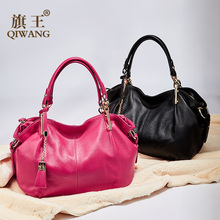Office Ladies Hand Bags Qiwang Genuine Real Leather Shoulder Bag Luxury Brand Black Handbag for Women Causal Tote Large Capacity