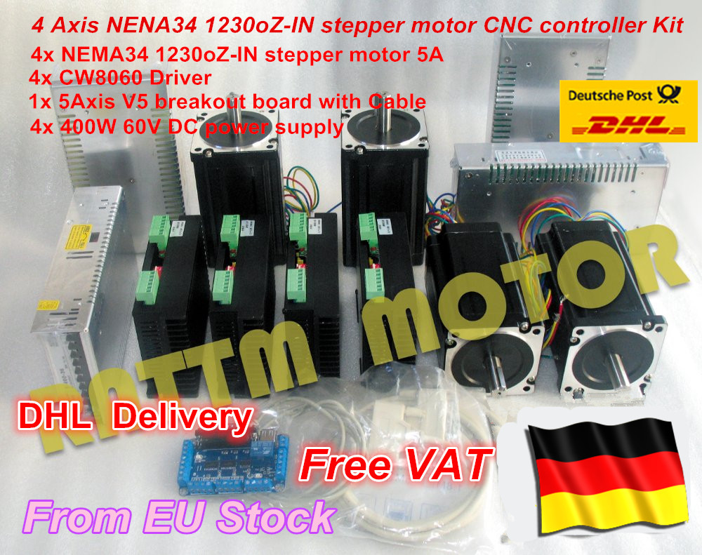 DE free VAT 4 Axis Nema34 Stepper Motor 1230 Oz-in/5A Dual shaft & 6A/80VDC 256 Microstep driver Kit for CNC Milling Machine de ship free vat 4 axis nema23 425 oz in dual shaft stepper motor cnc controller kit