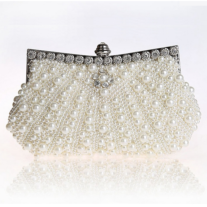 Hot Luxury Two-Sided Pearl Womens Evening Party Clutch Bag Chain Purse Wedding Party Bridal Bags Vintage Hobos Handbags Fashion tentop a two sided beaded fashion exquisite beaded evening bag noble elegant pearl clutches bags shoulder party bags white pearl