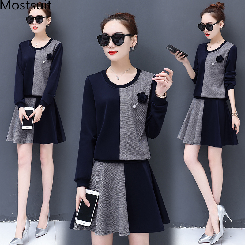 M-5xl Casual Two Piece Sets Women Plus Size Spring Long Sleeve Tops Pullovers And A-line Skirt Sets Suits Elegant Women's Sets