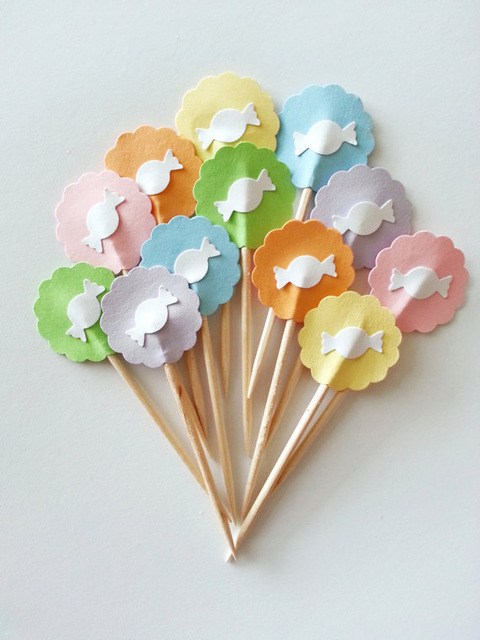 sweet pastel candy bar cupcake toppers wedding food picks bridal shower bachelorette cocktail tea party muffin decorations - Pastel Food Coloring